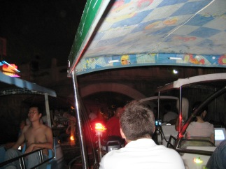 Everyone, seriously, EVERYONE is out on a boat at night. There was some serious traffic trying to get under the bridge.